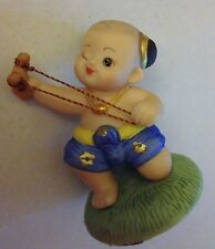 Vintage Hand Crafted of fine porcelain Thai Children at Play Figurine by SIRIN