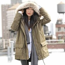 $228 Banana Republic Faux Fur Hooded Parka Coat Jacket WOMENS MEDIUM MILITARY OD