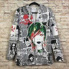 Crystal Rock By Christian Audigier Womens White Print Long Zip Up Hoodie Size M