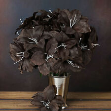 60 Chocolate Brown EASTER LILY SILK Wedding FLOWERS Bouquets Centerpieces SALE