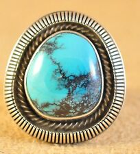 Sterling Silver Gem Cloud Mountain Turquoise Old Style Navajo Ring By Ned Nez