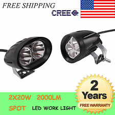 2 X 20W ROUND SPOT CREE LED WORK LIGHT DRIVING FOG LAMP UTE ATV SUV 4WD OFFROAD
