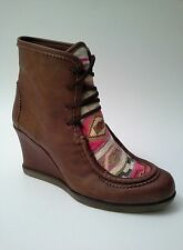 Anthropologie by Holding Horses Story Tribal Wedge Ankle Boots Brown Sz 38 $188