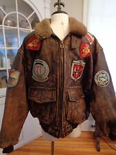 AVIREX Flight Bomber Jacket Aviator G-1 Pearl Harbor 100% distressed leather XL