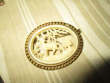 """Old Vintage brooch with gold tone""""Stag in forest""""open work /plastiqe"""
