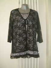"LADIES TOP SIZE 14/16 BUST 40"" BLACK/WHITE FIXED LACE WAISTCOAT & LACE SLEEVES"