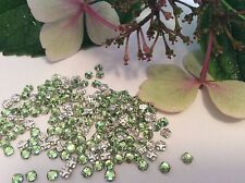 Swarovski Rose Montees Vintage 3mm 12ss Peridot Prong Set Pack 30 Post Free UK