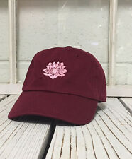 Hip Lotus Flower Embroidered Low Profile Baseball Cap Hat Burgundy