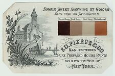 xRARE Advertising Trade Card -  Pierce House Paint with SAMPLES ca 1880