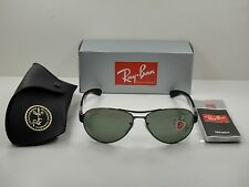 RAY-BAN POLARIZED SUNGLASSES RB3509 004/9A GUNMETAL & BLACK/GREEN LENS 63MM