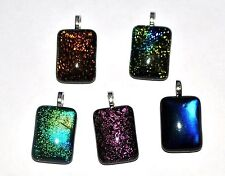 DGP09 - 5 GENUINE DICHROIC GLASS JEWELLERY PENDANTS - 28x13mm RECTANGULAR