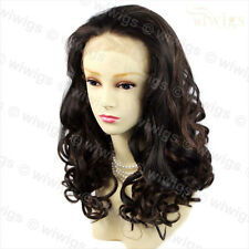 AMAZING Beautiful Lace Front wig Brown mix Blonde Curly Long Ladies Wigs UK