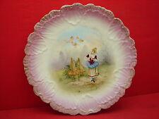 Superbe ancien grand plat décor émaillé, romantique, anges, ruches
