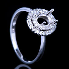 Solid 10K White Gold Engagement Wedding Semi Mount Diamond Ring 7x5-5x6mm Oval