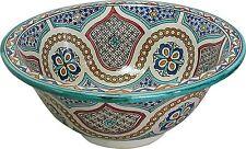 Meknes en céramique marocain bathroom sink bassin peint à la main inside-out d 40cm