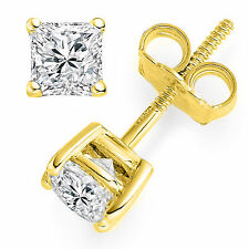 2ct Princess Cut Solitaire Stud Earrings Lab Diamond 14k Yellow Gold Screw Back