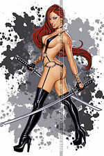 105 SEXY ART DECAL STICKER PIN UP GIRL STUNNING REDHEAD SAMURAI SWORD SEXY LEGS