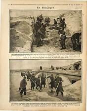Soldats Dunes Plages de Nieuport Mer du Nord  Troupes Terrassiers 1915 WWI