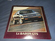 1985 Chrysler Lebaron GTS Original Brochure Catalog Prospekt