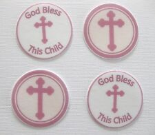 PRE CUT 12 EDIBLE RICE PAPER WAFER CARD PINK CHRISTENING CROSS CUPCAKE TOPPER