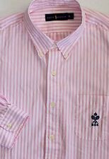 New Polo Ralph Lauren Long Sleeve Pink Striped Cotton Oxford Shirt / Large