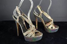"GORGEOUS !!! CASADEI 6"" HIGH  HEEL PLATFORM IRIDESCENT GOLD SANDALS 8.5"