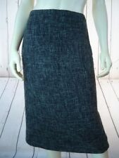 BENETTON Skirt 42 Wool Poly Blend Straight Black Gray Textured Tweed Lined Slit
