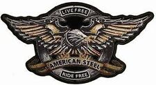LIVE FREE RIDE AMERICAN STEEL BIKER BACK Eagle Motorcycle MC Club PATCH LRG-0092
