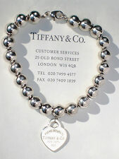 Tiffany & Co Sterling Silver Return to Tiffany Heart Tag Bead Bracelet