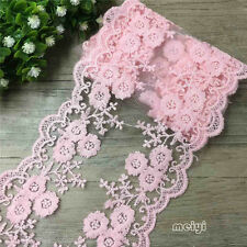 1 Yard Scalloped Double Edge Blossom Cotton Embroidered Lace Trim Ribbon Crafts