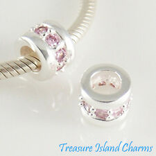 .925 Solid Sterling Silver EUROPEAN Spacer Bead Charm WITH LIGHT PINK CZ CRYSTAL