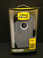 OtterBox Defender Rugged Hard Case w/Holster Belt Clip fo iPhone 5 5S Gray/White
