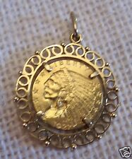 18KT GOLD BEZEL PENDANT W/24KT GOLD 1927 LIBERTY EAGLE/INDIAN HEAD COIN