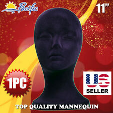 "11"" STYROFOAM FOAM black velvet MANNEQUIN MANIKIN head display wig hat glasses"