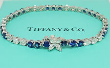 TIFFANY & CO Victoria 7.43 ct Platinum Round Diamond & Sapphire Tennis Bracelet