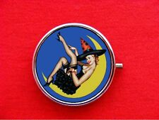 WITCH PIN UP GIRL WICCA ROUND METAL PILL MINT BOX CASE