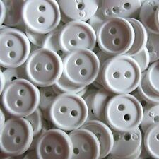 15 kleine weiße Zweiloch Blusen o. Hemden Kunststoff Knöpfe (hk702we-12mm)