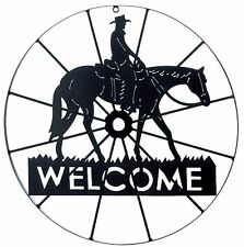 """Southwestern Cowboy ** COWBOY WAGON WHEEL HORSE & COWBOY """"WELCOME"""" SIGN ** NIB"""