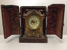 Antique Victorian British United Mantle Clock Cherubs Bronze Metal Leather Case