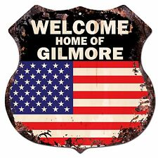 BPWU-0661 WELCOME HOME OF GILMORE Family Name Shield Chic Sign Home Decor Gift