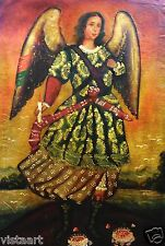 "RARE Cuzco Oil Painting Peru Folk Art 15"" x 23""- ""Lovely Angel Standing on Rock"""