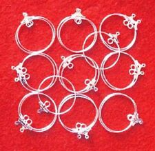 20 silver plated earring hoops, with inside loop, 25mm, findings for jewellery