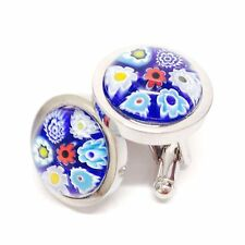Blue Murano Millefiori Round Glass & Silver Chunky Inlay Cufflinks.