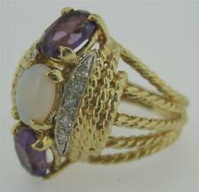 HEAVY VTG 14K YG Natural PURPLE AMETHYST & OPAL & DIAMONDS Ring size 8 MINT cond
