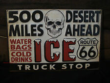 NEW METAL SKULL ICE TRUCK SIGN route 66 miles motorcycle harley bag pickup soda