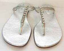 Gianni Bini Rhinestone & Leather sandals Silver Size 9.5