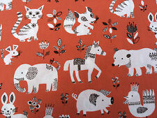 Red Japanese Cotton Fabric Fat Quarter Quilting Weight Elephant Cat Horse Duck
