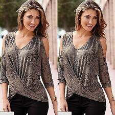 Ladies Loose Casual Long Sleeve Lace Shirt Blouse Ladies Tee Tops Size M Leopard