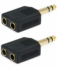 "2x Stereo 6.35mm 1/4"" 1 Male Plug to 2 Mono Female Jack Audio Y Splitter Adapter"