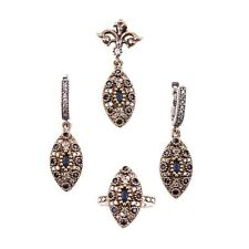 UK BASED TURKISH OTTOMAN HANDMADE JEWELLERY 925 SILVER SET SAPPHIRE/CUBIC